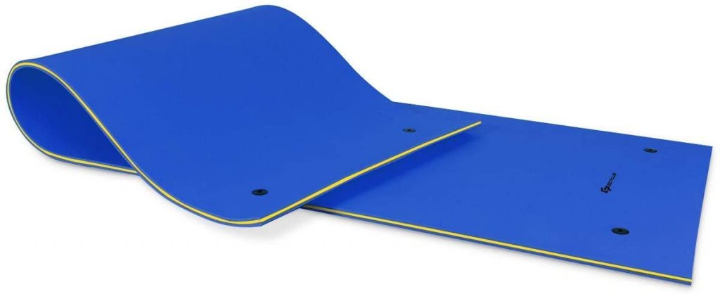 The floating mat is blue and can hold up to 5 people and is 12lbs rolled up and made from 3 layers xpe foam that is tear resitant.