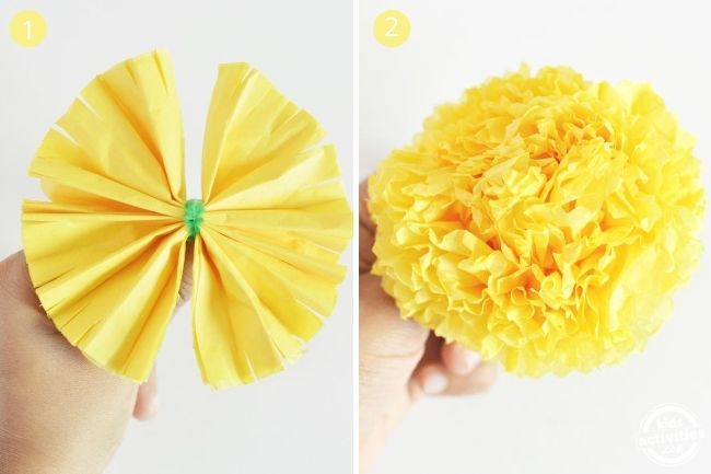 diy marigold flowers using fringe technique shown in two step by step picture ona white background flowers craft