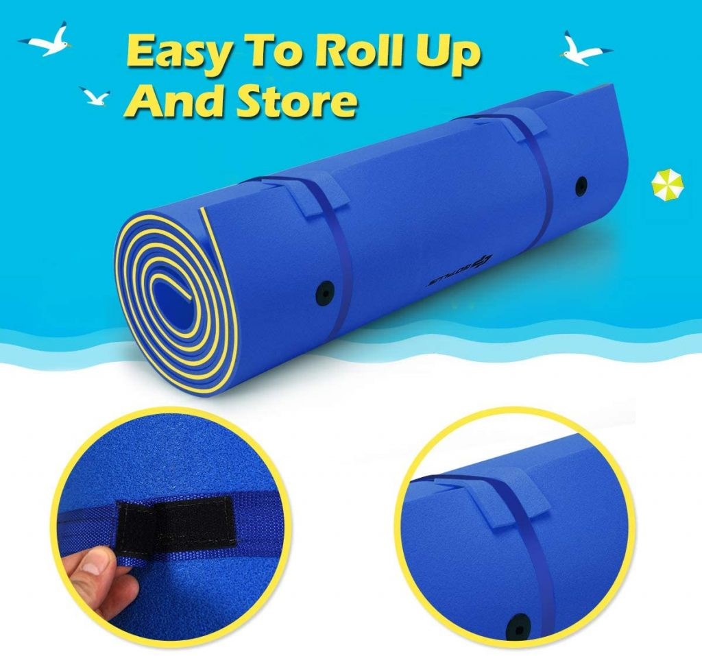 This floating pad is easy to roll up and easy to store and only ways 12lbs.