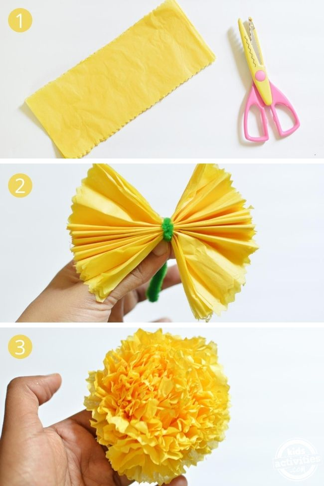 yellow tissue paper marigold flowers step by step pictures on a white bg cempazuchitl