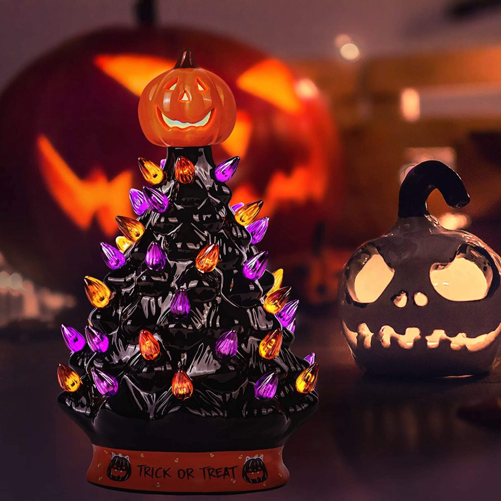 RJ Legend 15-Inch Halloween Decoration Light Up Ceramic Tree