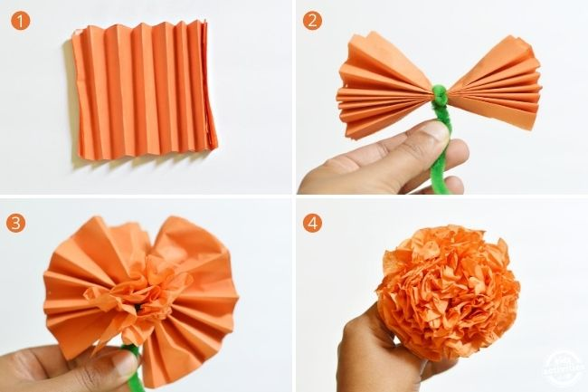 steps to make the tissue paper marigold flowers shown