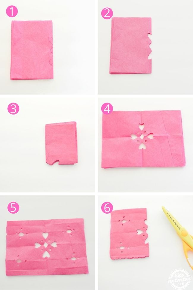 Step by step pictures showing how to make dia de los muertos banner decor using tissue paper