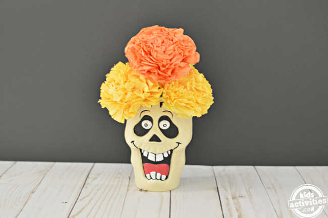 Dia de los muertos decor using flower of the dead