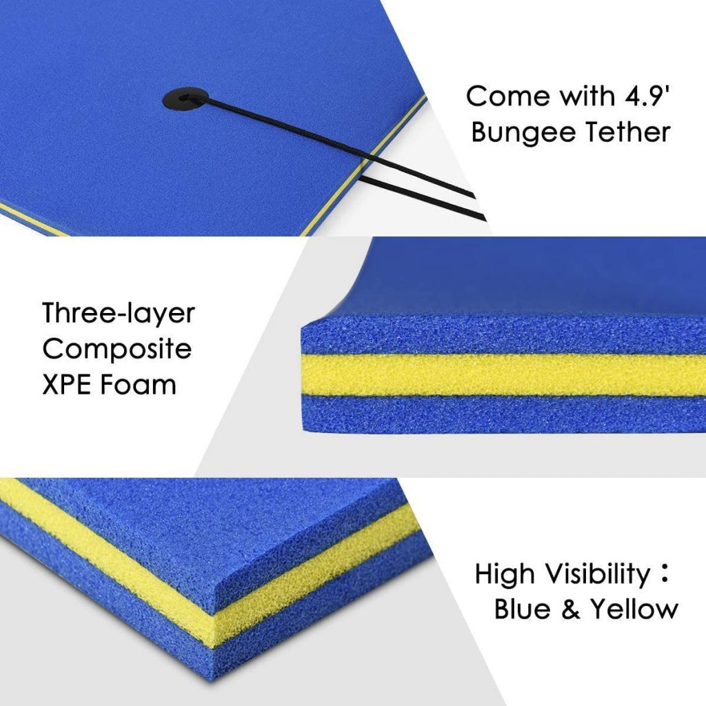 This floating water pad comes with almost 5 feet of bungee tethers, 3 layers blue and yellow composite xpe foam, and is easy to see on the water due to the colors.