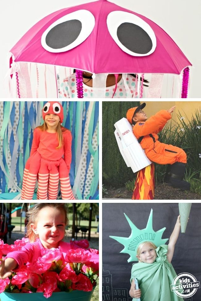 collage of creative halloween costumes for kids