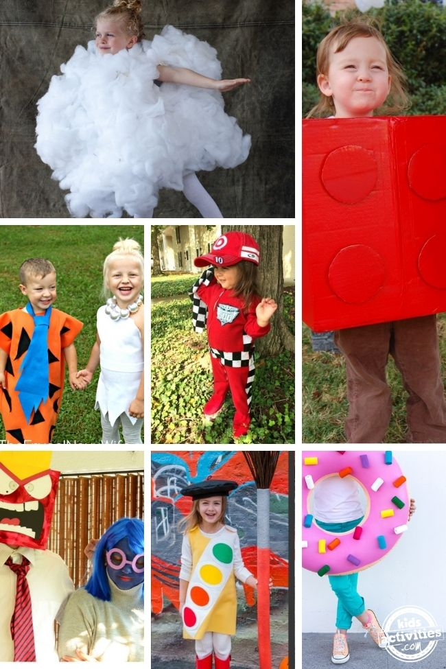 collage of diy costumes ideas for halloween