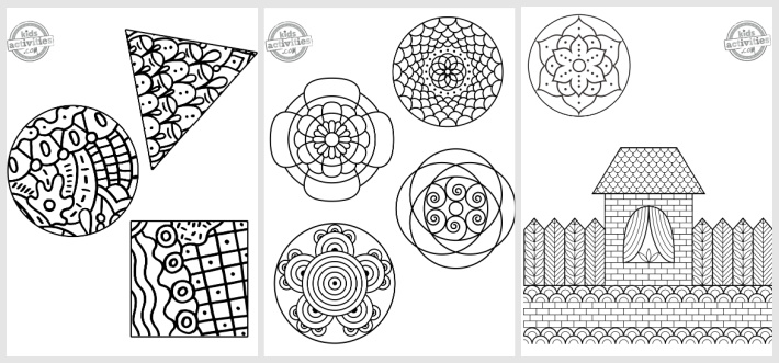 Easy Zentangle Art Patterns to Color - 3 from Kids Activities Blog - shown are 3 zentangle art pdf to color