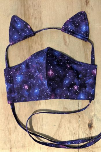 Galaxy Cotton Face Mask With Cat Ears