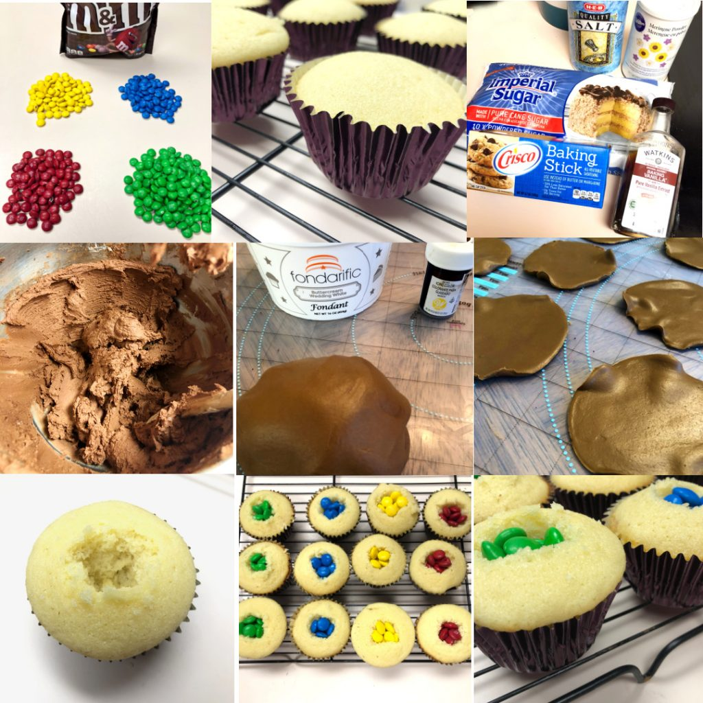 Collage of decorating the cupcakes with sorting yellow, green, blue, and red M&M colors, making the chocolate frosting, making the brown fondant hat brims, cutting open the cupcakes, and filling them with the M&M's.