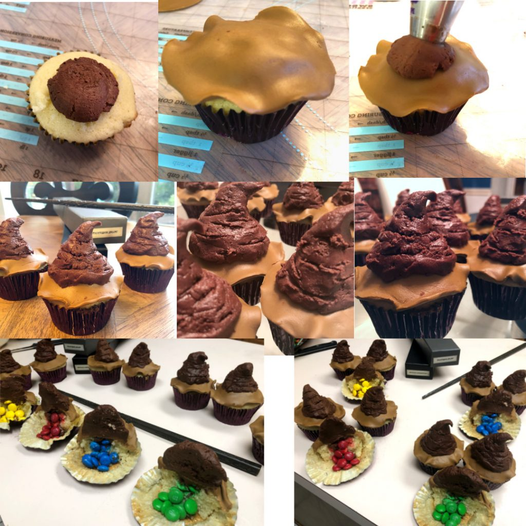 Collage of putting the Sorting Hat fondant brims on the cupcakes, frosting the tips of the hats with the choclate frosting, and pictures of the cut open cupcakes with M&M's for the Hogwarts Houses falling out of them.