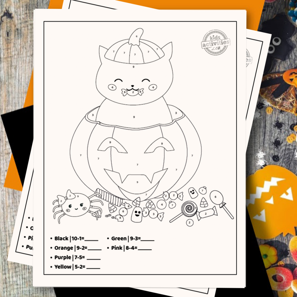 Halloween Color By Number Subtraction Coloring Pages Square