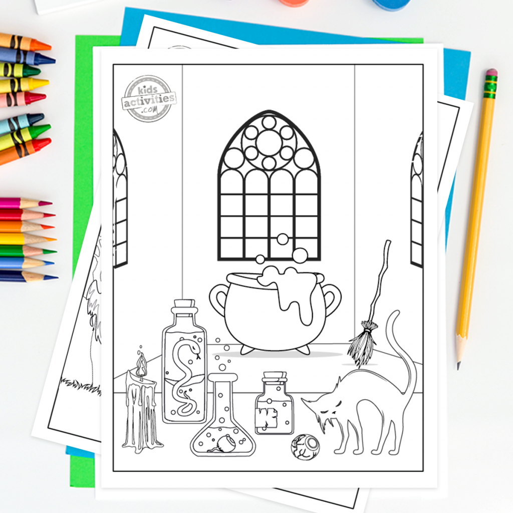 Free Halloween coloring page with a witch's cauldron in a room with stained glass windows, a straw broom leaning in the corner and potions, candle, eyeball and cat on the table.