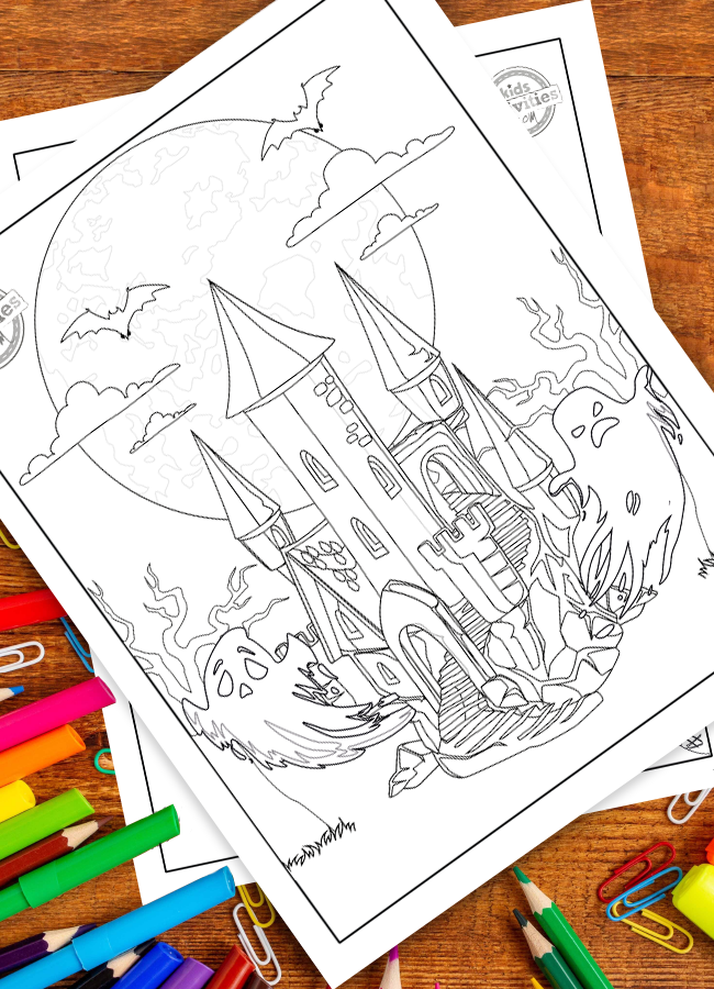 Halloween coloring page with a haunted house in front of a full moon, with clouds and bats flying overhead and spooky ghosts coming right at you!