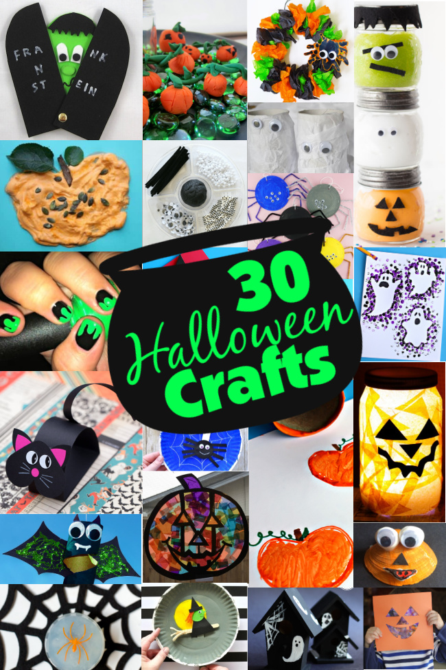 30 Halloween Crafts collage with pictures of a peek-a-boo Frankentsein, clay pumpkins, Halloween wreath, Halloween slime, puffy paint pumpkin, playdough, toilet paper roll mummies, slime nails, pencil eraser stamp ghosts, black cat craft, spider paper plate craft, toilet paper roll stamp pumpkins, jack-o-lantern night light, toilet paper roll bat, pumpkin stain glass, pumpkin seashell, spider soap, witch paper plate craft, mini haunted houses, and a jack-o-lantern paper craft.