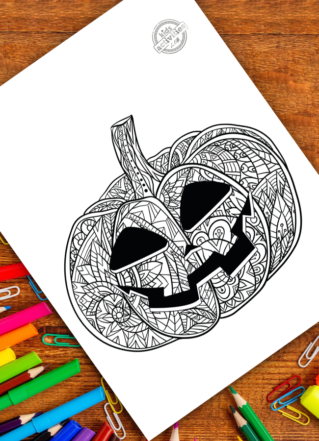 Free Halloween Coloring Sheets Here S An Easy Jack O Lantern Zentangle For Kids