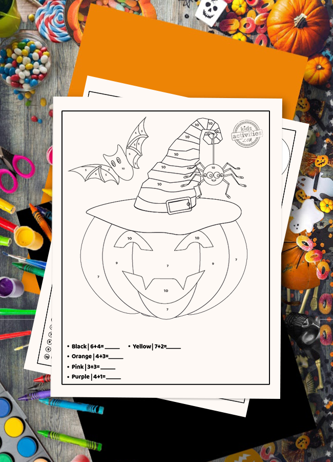 Practice your math skills with this spooky addition color by number Halloween printable!