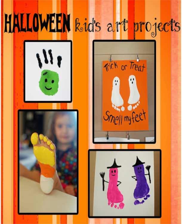 Halloween crafts that use handprints and footprints to make pink and purple witches, white ghosts, a green frankenstein monster, and a yellow, orange, and white candycorn.