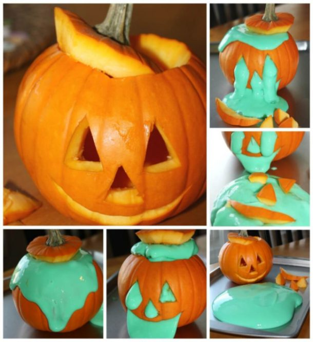 Halloween green slime that is gushing out of the eyes, nose, and mouth of a jack-o-lantern.