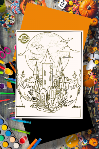Halloween coloring page of a haunted house on a table with colored pencils, paints, a pumpkin and fall leaves