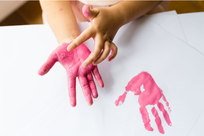 Making handprint art with kids at home or classroom