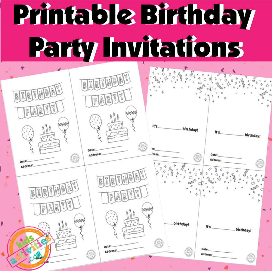 Printable Birthday Party Invitations- Free printable invitation templates laid next to each other on a pink sprinkle background. One has a birthday banner across the top and a cake surrounded by balloons with fill in the blanks for a date and address on the bottom. The second one has confetti at the top and fill in the blanks for the birthday boy or girl's name and the party's date and address.