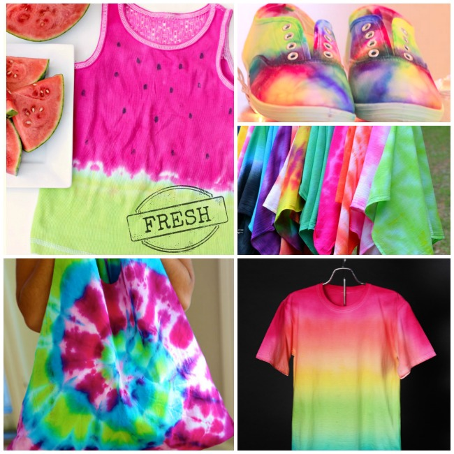 Collage of watermelon tie-dye shirt, tie-dye tennis shoes, tie-dye group of shirts, rainbow tie-dye shirt, and ombre green, yellow, and pink tie-dye shirt.