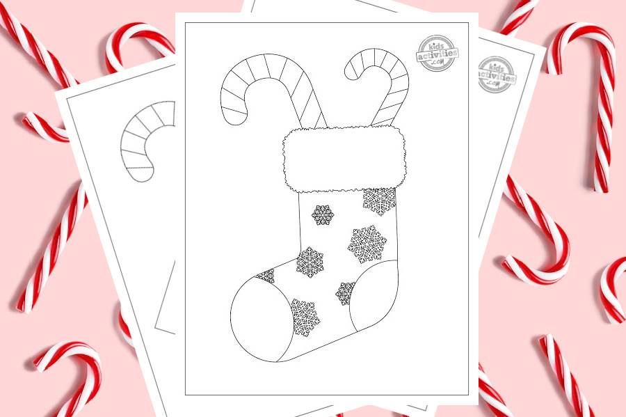 Printable coloring page of a Christmas stocking filled with candy canes. The Christmas stocking is covered with beautifully detailed snowflakes and surrounded by a cute pink background scattered with real candy canes.