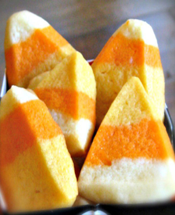 candy corn cookies- white, yellow, and orange sugar cookies that look like candy corn