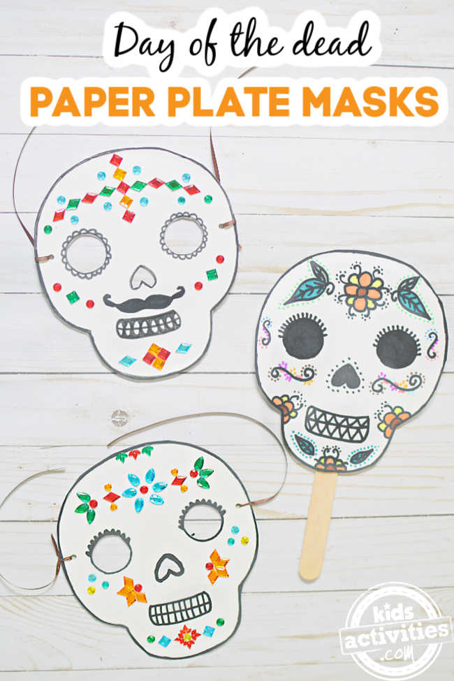 3 day of the dead masks using paper plate craft activity for dia de los muertos
