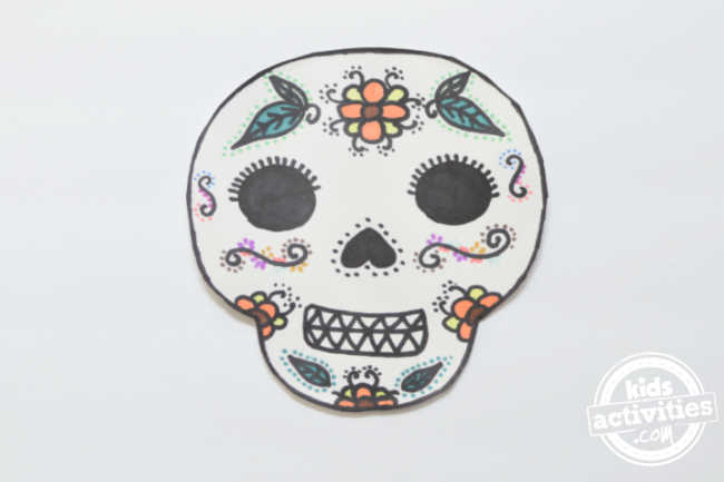 day of the dead sugar skull masks decorated with only markers