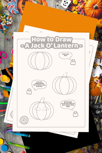 how to draw a joack o lantern printable on top of orange construction paper and surrounded by Halloween art and craft supplies
