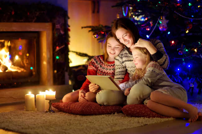 Watch Christmas movies with your families, like the Hallmark Christmas movies, in your super cute pajamas.