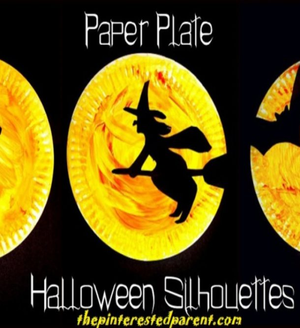 Halloween silhouette craft with paper plates that are painted yellow and red with a black outline of a witch