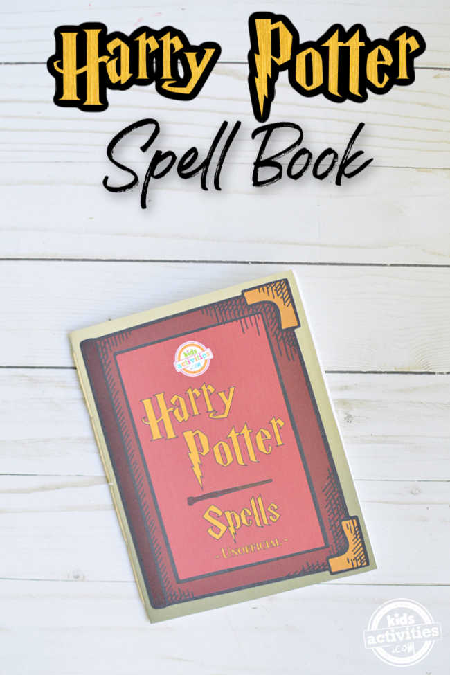 Harry poter spell book with coloring pages displayed on a wood background