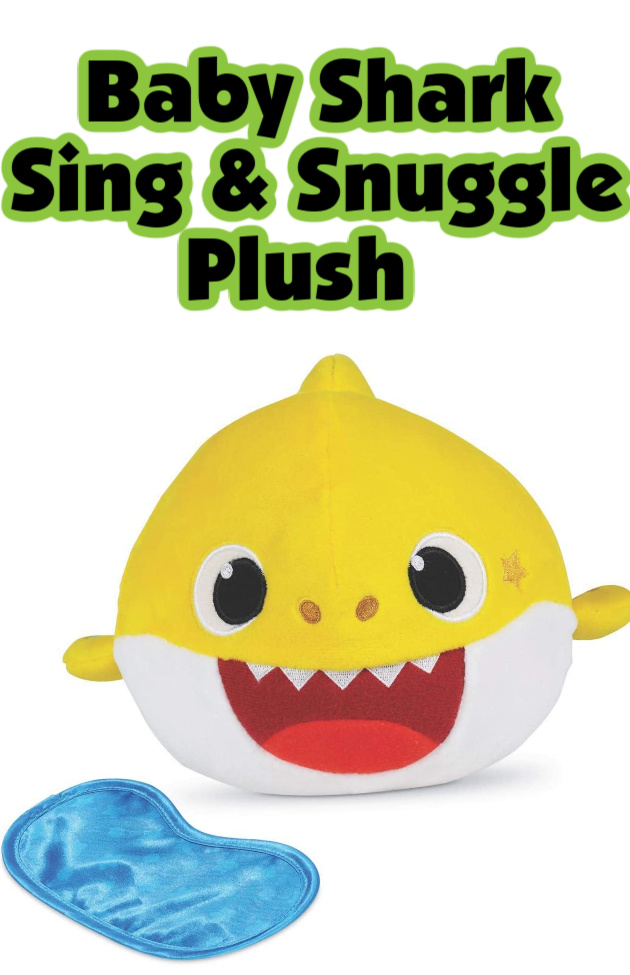 Baby Shark Sing & Snuggle Plush- One of the best Christmas gifts for musical children! A yellow baby shark that recognizes day and night.
