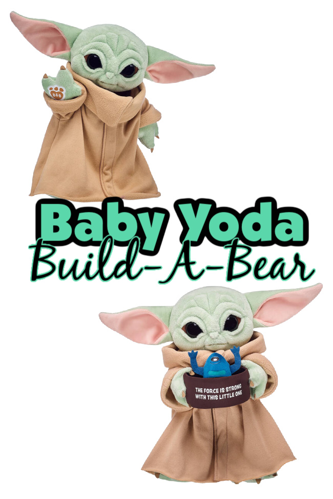 "Baby Yoda Build-A-Bear in brown robe using the force and drinking from a soup bowl that says ""The Force is Strong With This Little One"" and a blue frog poking out of it."