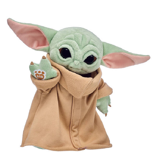 Baby Yoda Build-A-Bear plush in a brown robe using the force.