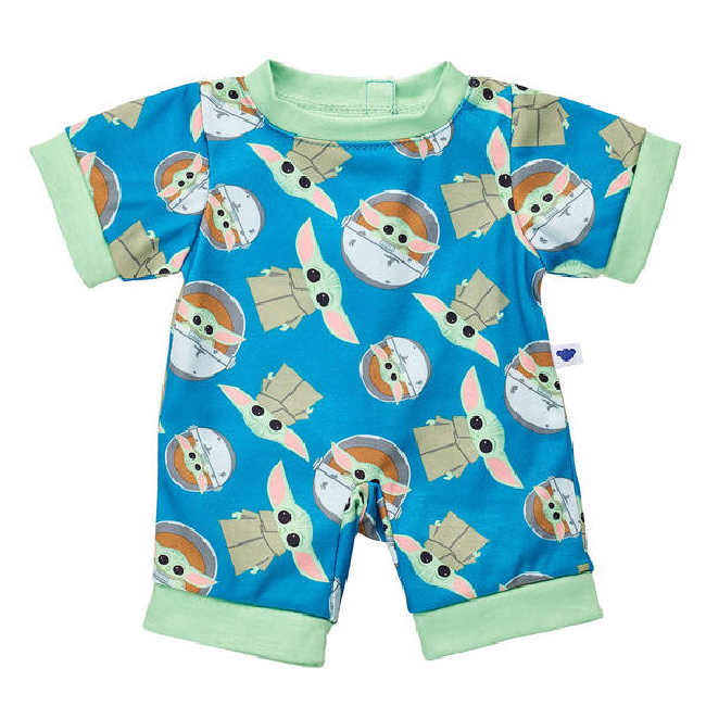 Baby Yoda Build-A-Bear pajama onesie. Blue with green hems and Baby Yoda images of him standing and in his pod scattered around.