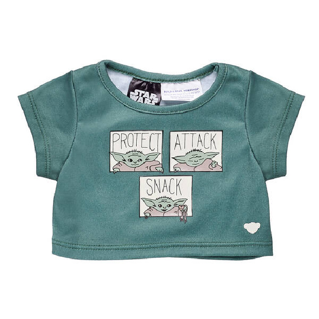 "Baby Yoda Build-A-Bear t-shirt item, dark green with three images of Baby Yoda that each say ""Protect,"" ""Attack,"" and ""Snack."""