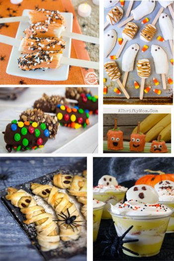 A collage of creepy banana Halloween treats!