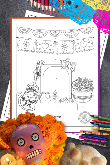 Day of the Dead Color by Number Coloring Pages