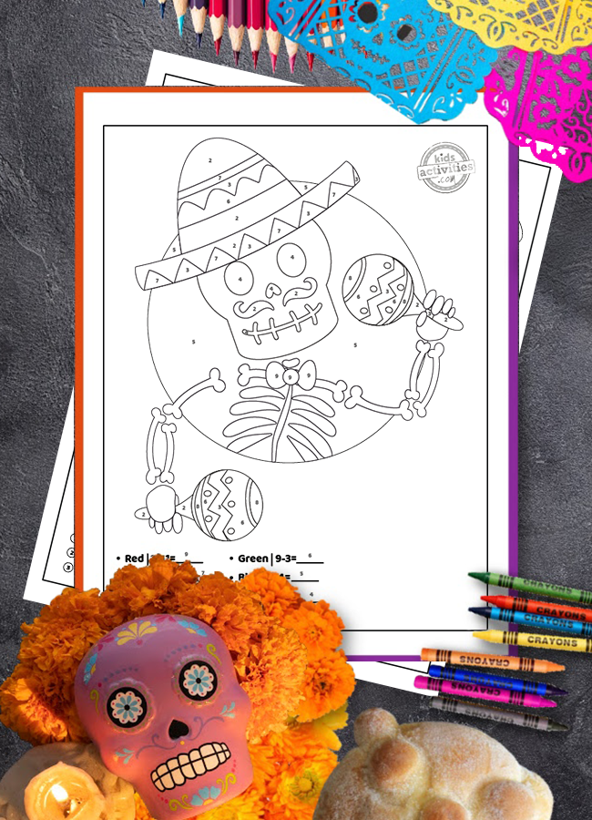 Make subtraction easy with Day of the Dead color by number printables