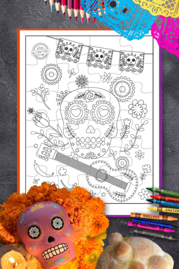 Day of the Dead coloring page with puzzle piece lines for cutting and creating a puzzle