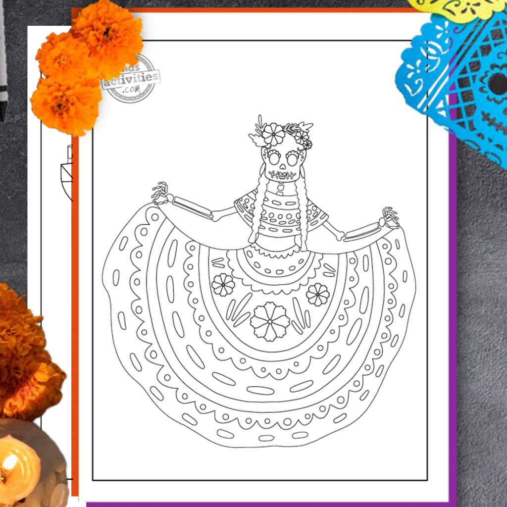 free printable coloring pages for kids for Day of the Dead celebration