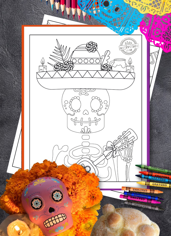 5 Beautiful Day of the Dead Coloring Pages for Dia De Muertos Celebration