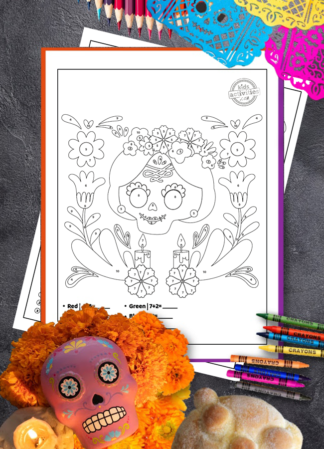 Easy way to learn addition with Day of the Dead coloring pages