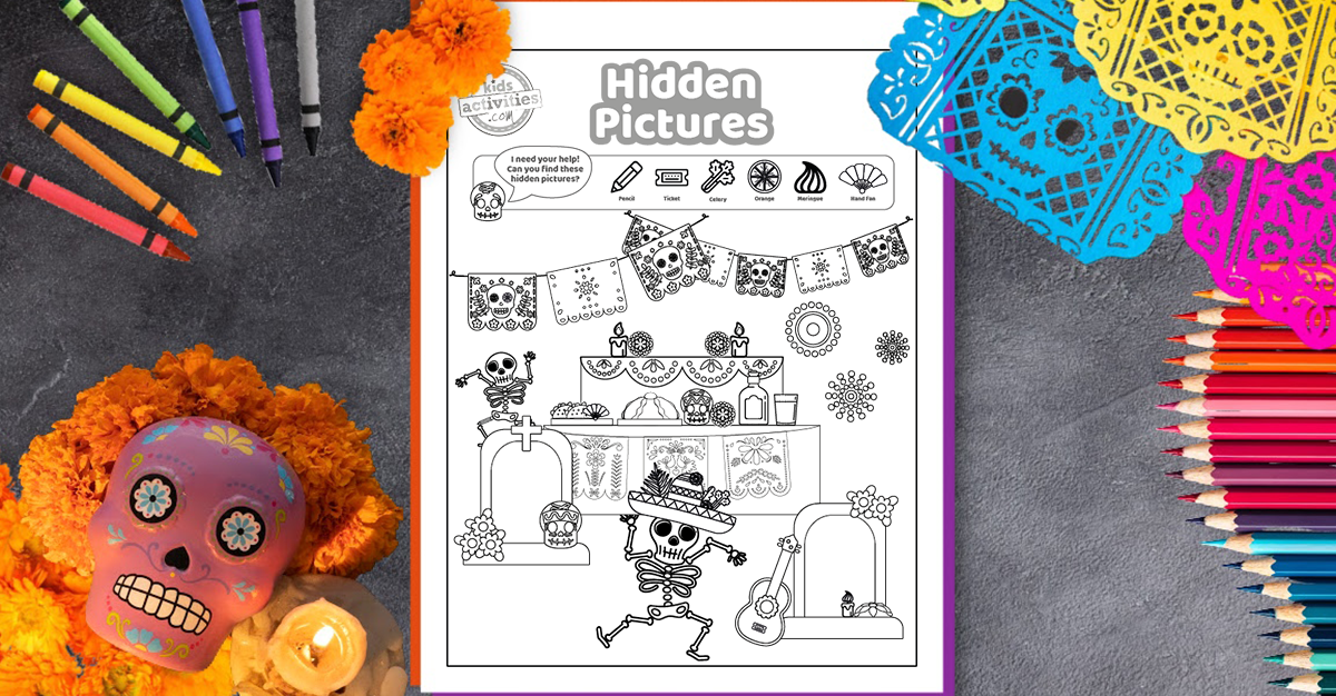 Get The Funnest Day Of The Dead Hidden Pictures Game