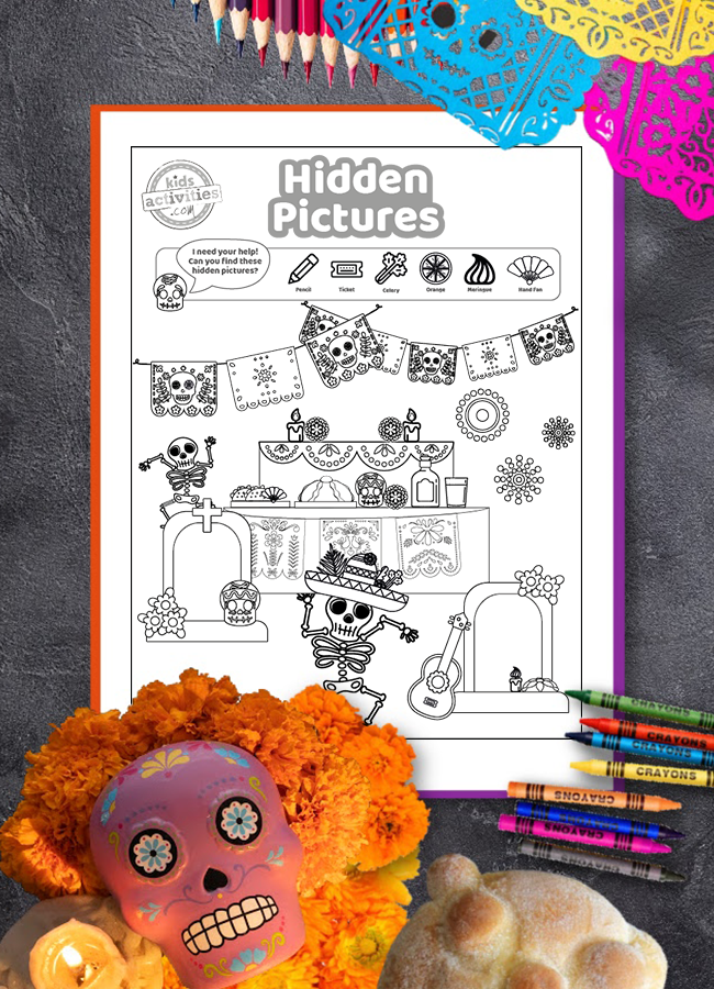 Free Day of the Dead hidden pictures printable