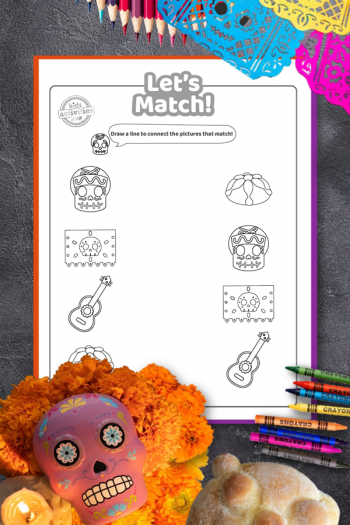 Day of the Dead matching game coloring page printable